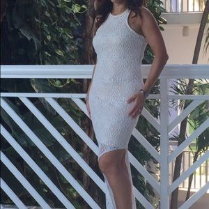 Lace dress with nude lining